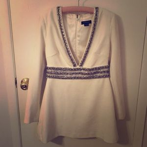 Long-sleeved dress with silver beading detail
